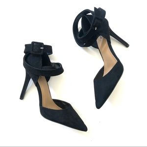 Qupid Ankle Strap Pointy Toe Black Heels